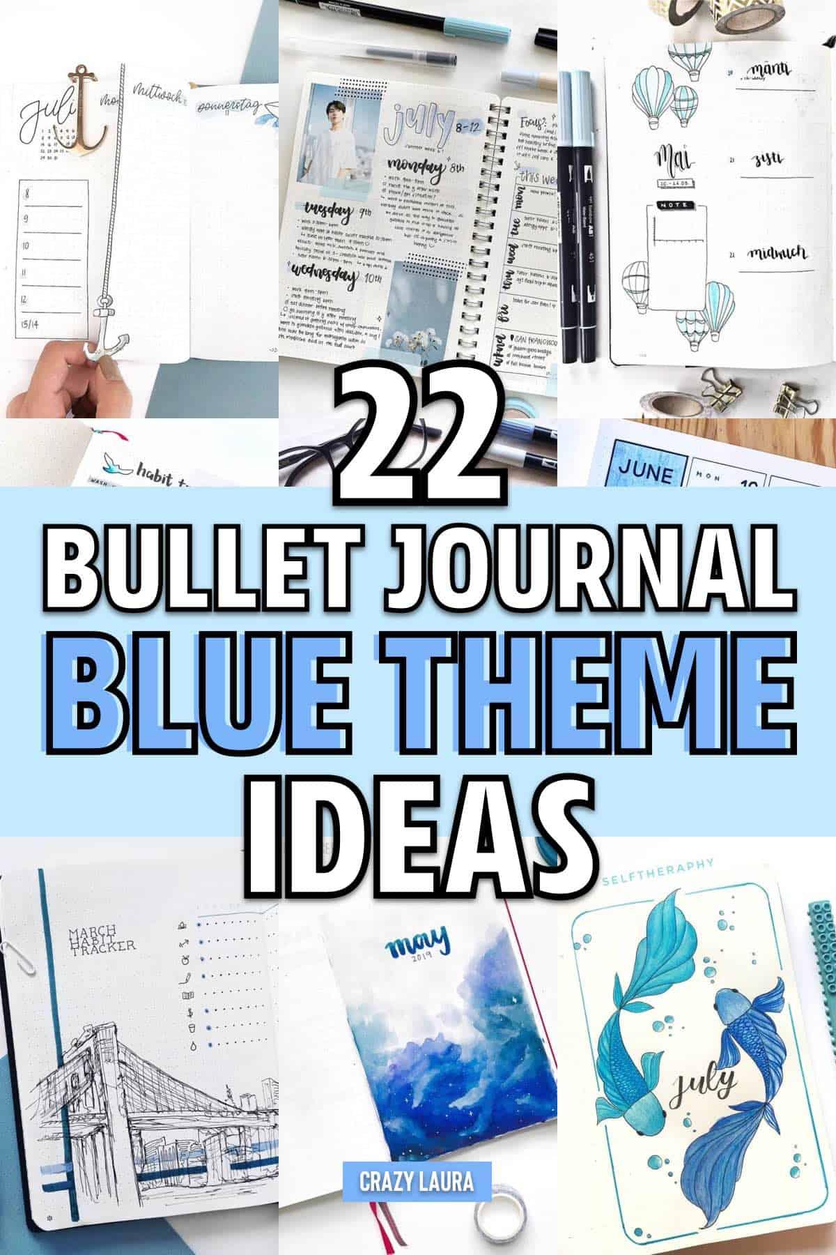 list of blue bujo theme ideas