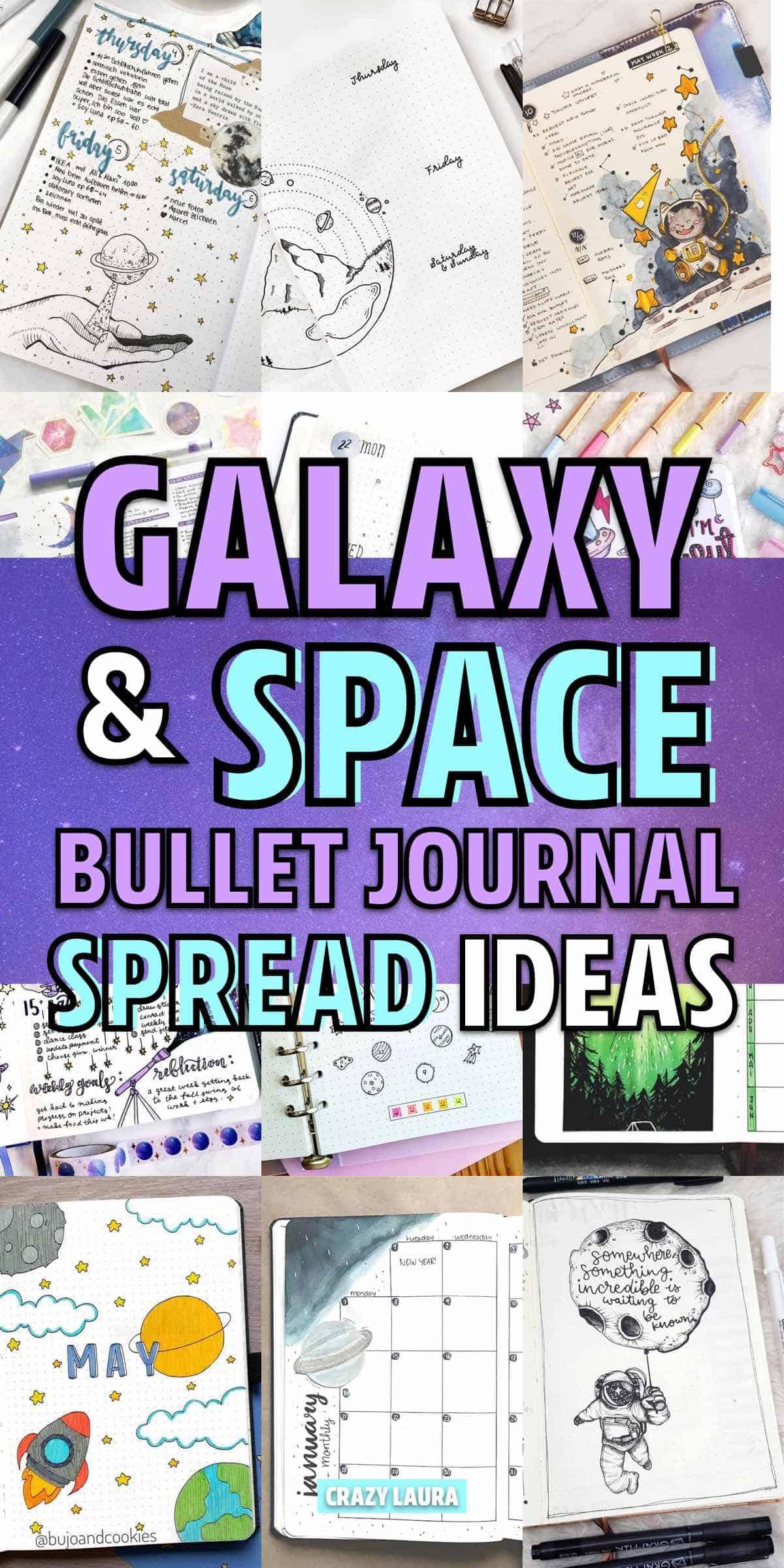 bujo spreads with galaxy