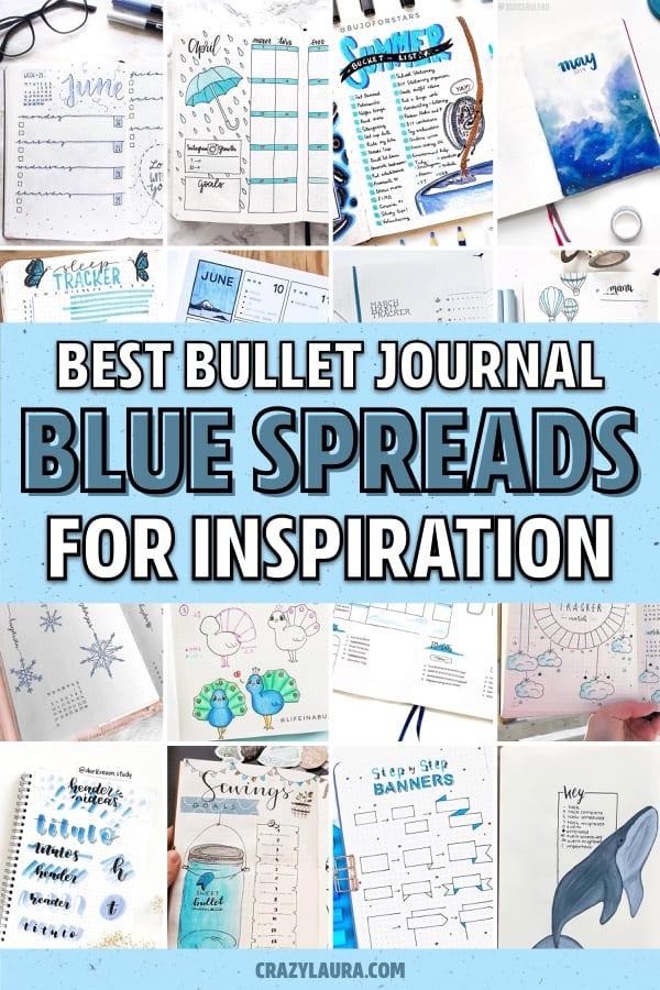 creative blue bullet journal spreads
