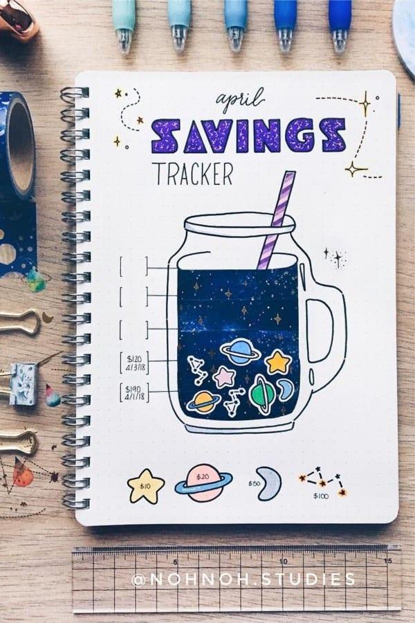 space theme savings tracker