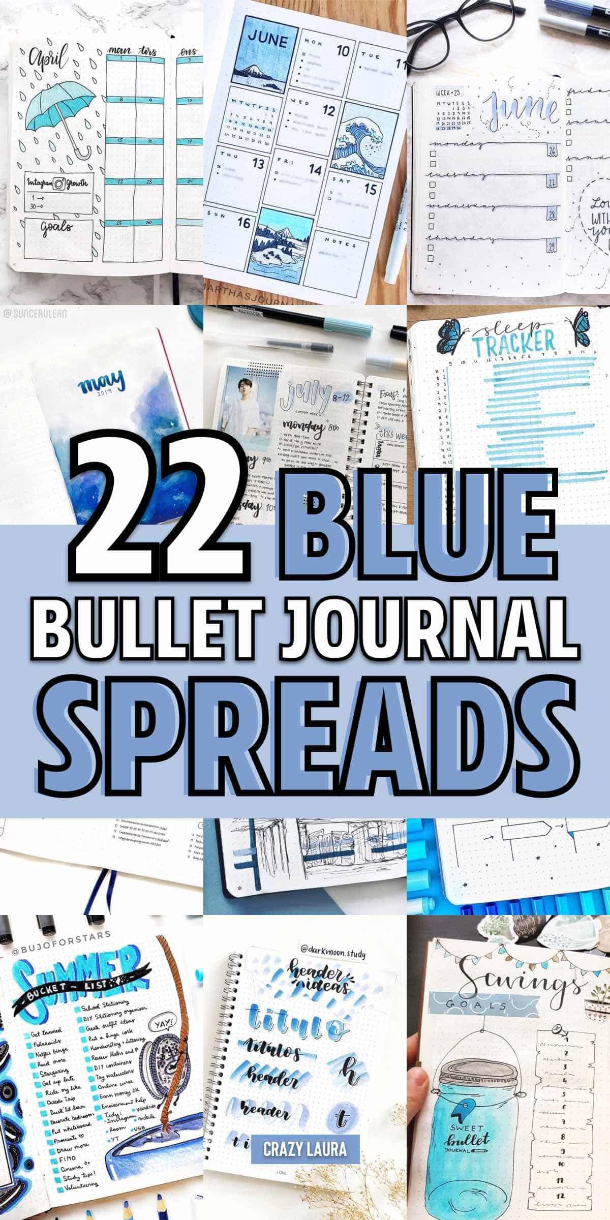 best bujo spreads with blue