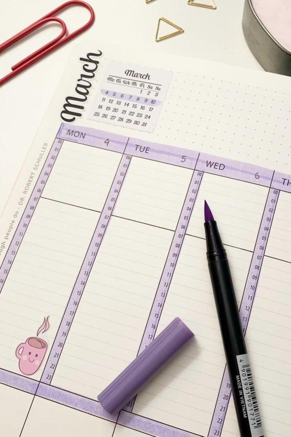 march purple bujo page