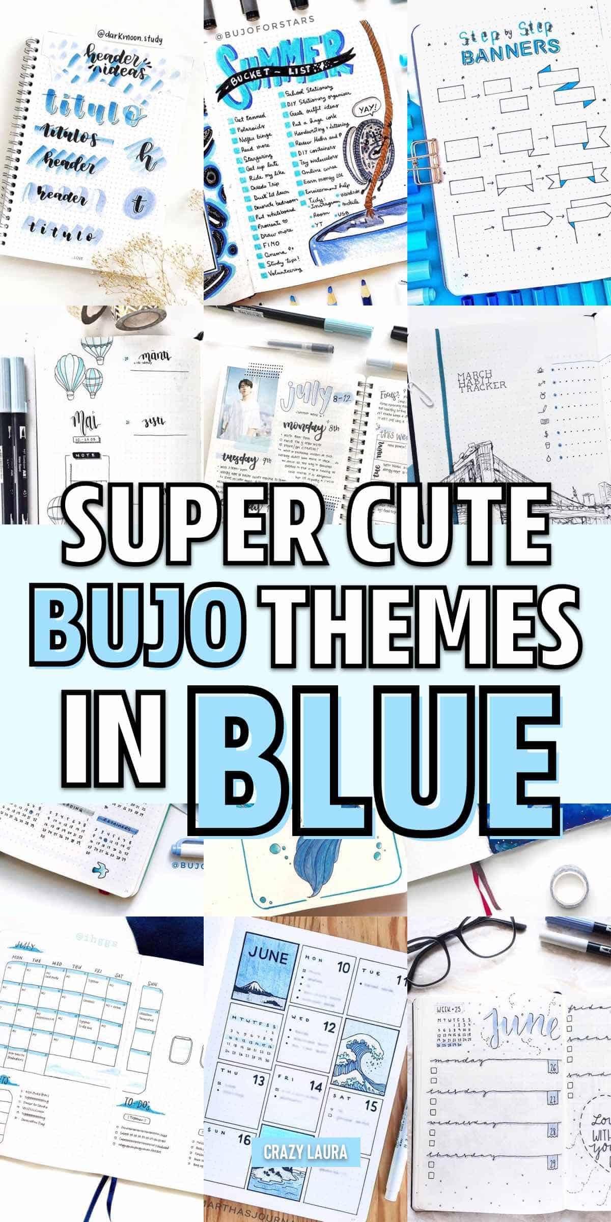 bujo spread ideas with blue color