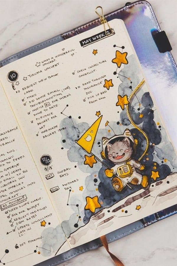 bullet journal planet theme