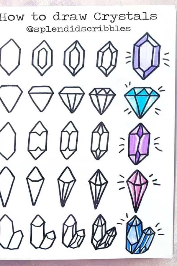 bujo crystal doodles in purple