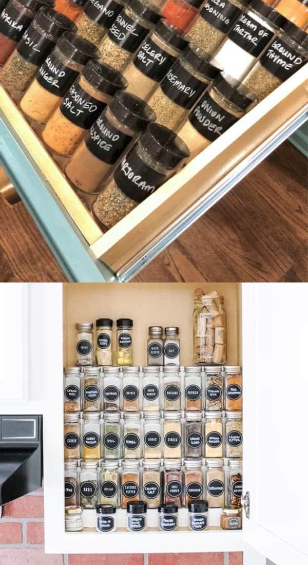 farmhouse kitchen spice rack ideas