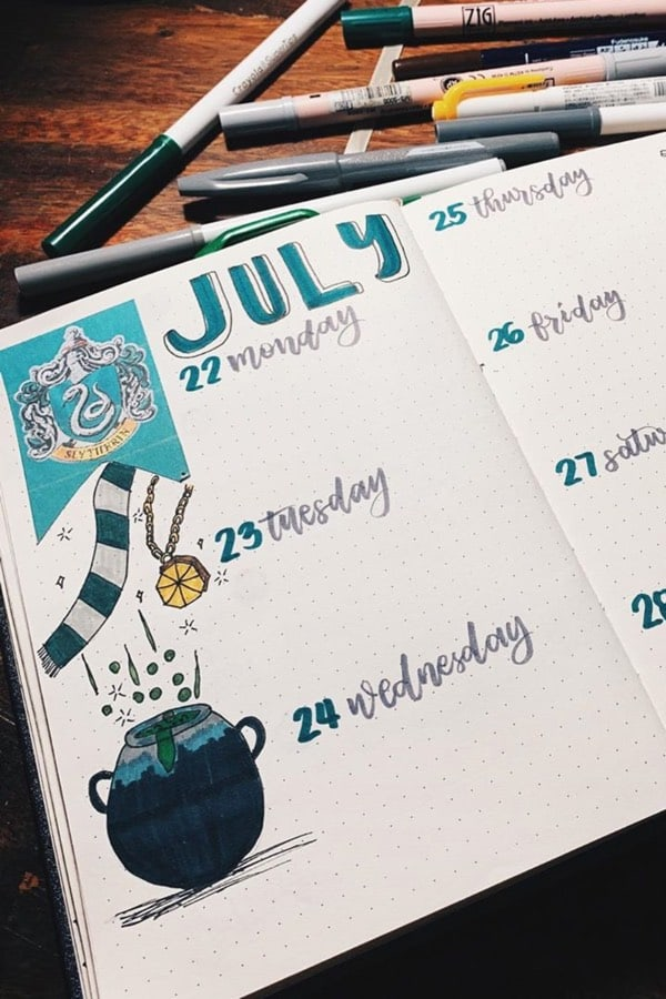 best slytherin bujo ideas