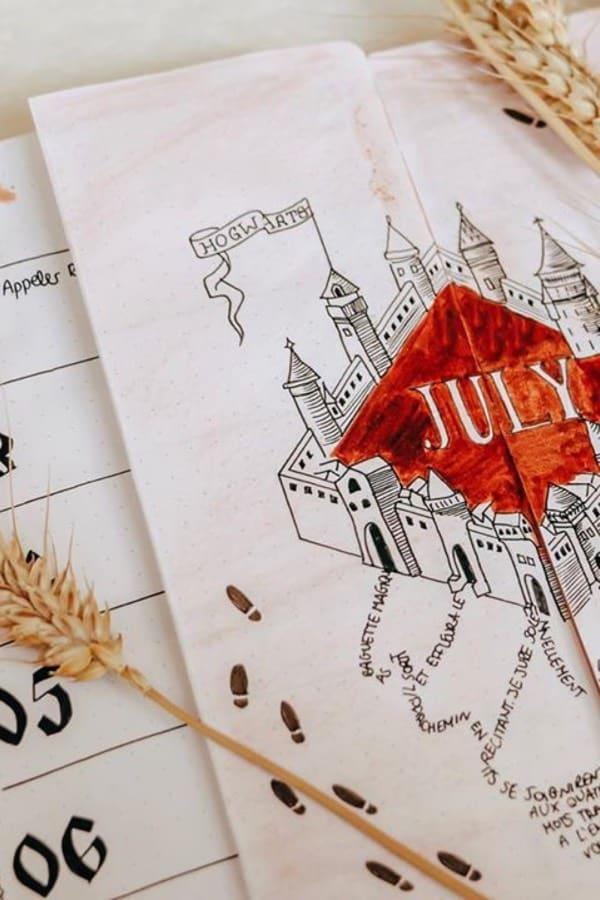 hogwarts castle bujo page