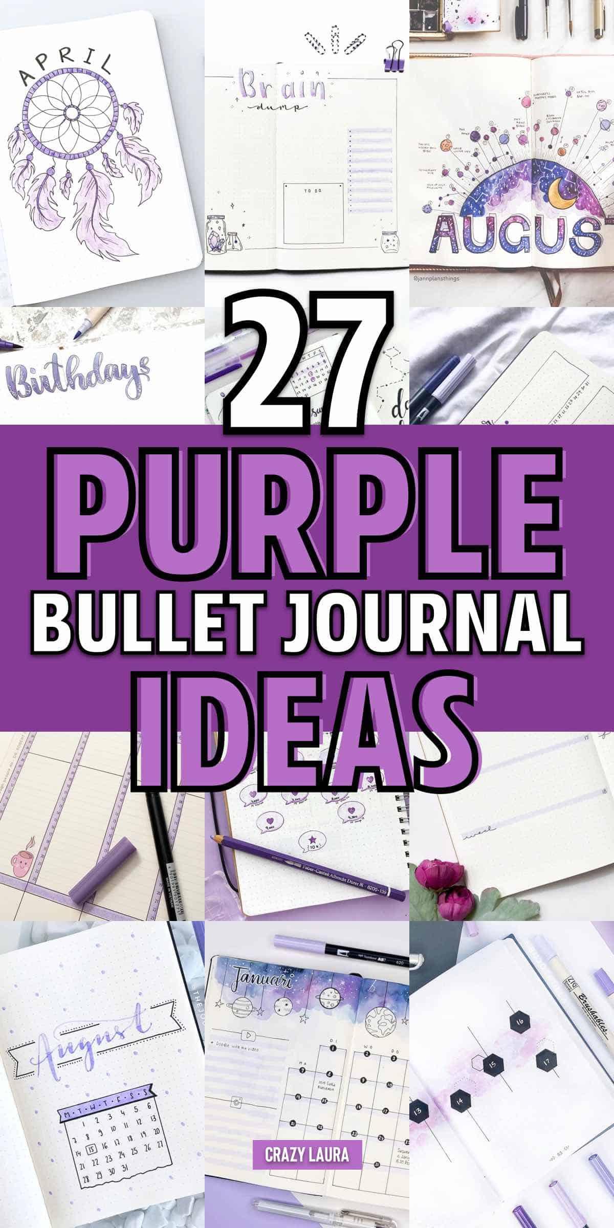 easy purple bullet journal theme