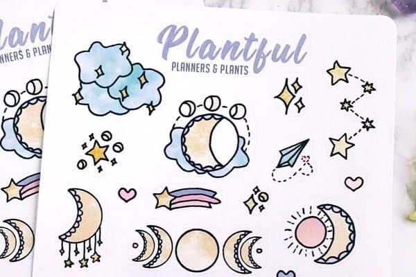 cute moon sticker for bujo