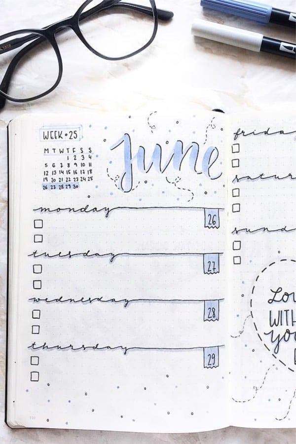 best blue bullet journal layouts