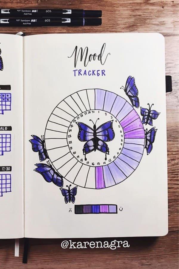 purple mood spread for bujo