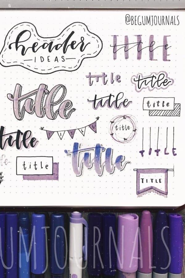 purple theme bujo titles