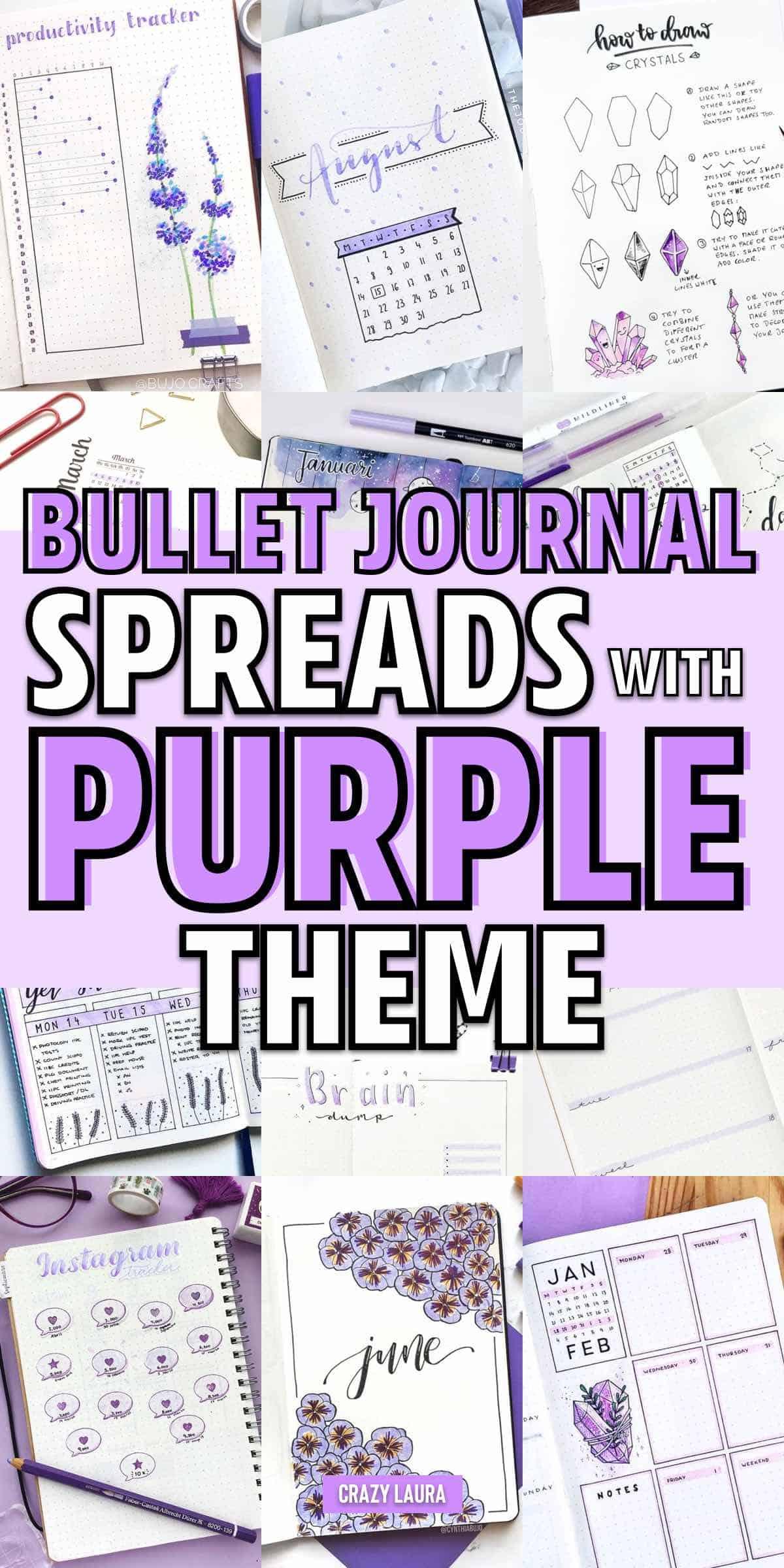 bujo spreads with purple theme