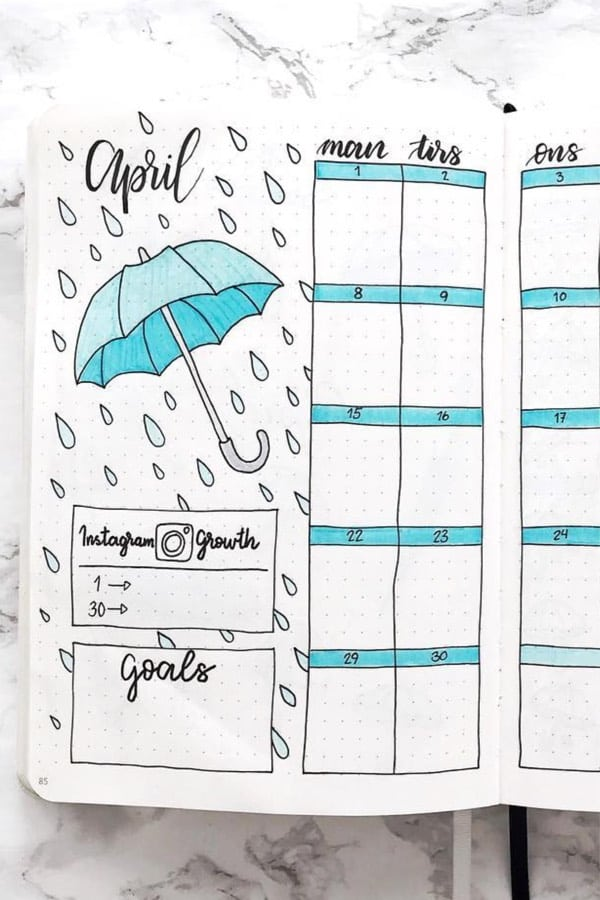 blue monthly spread example