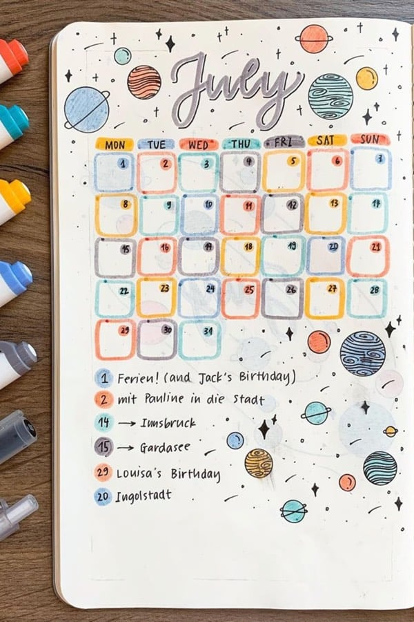 best monthly spread with space theme
