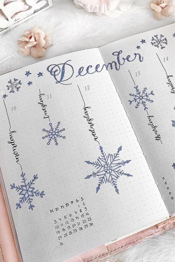 bujo theme with snowflakes