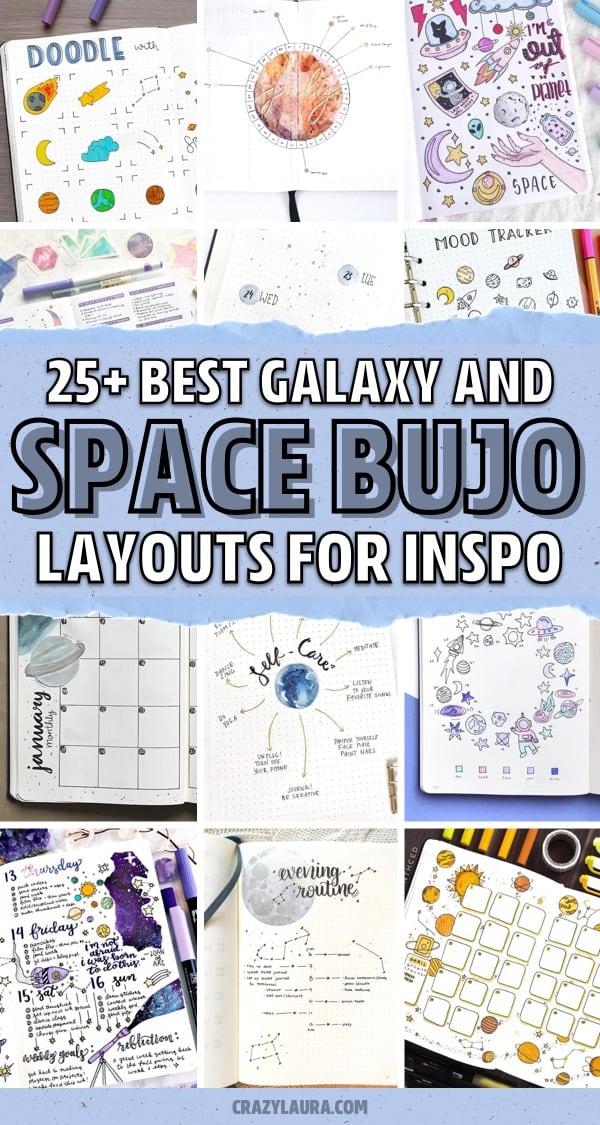 creative galaxy themed journal spreads