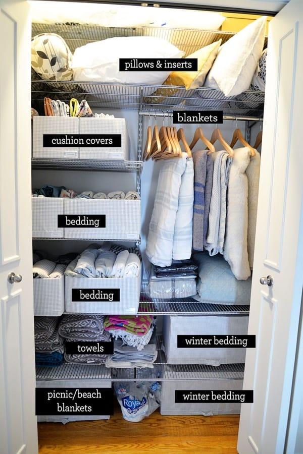 cheap linen closet organizers
