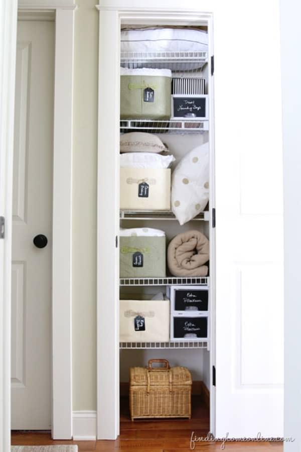 small linen closet makeover