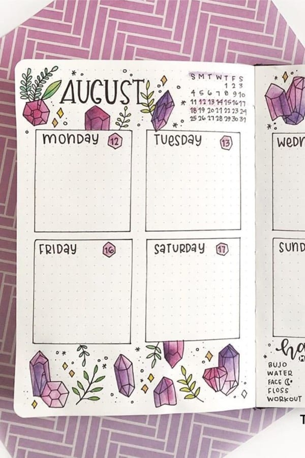 bujo theme with purple gems