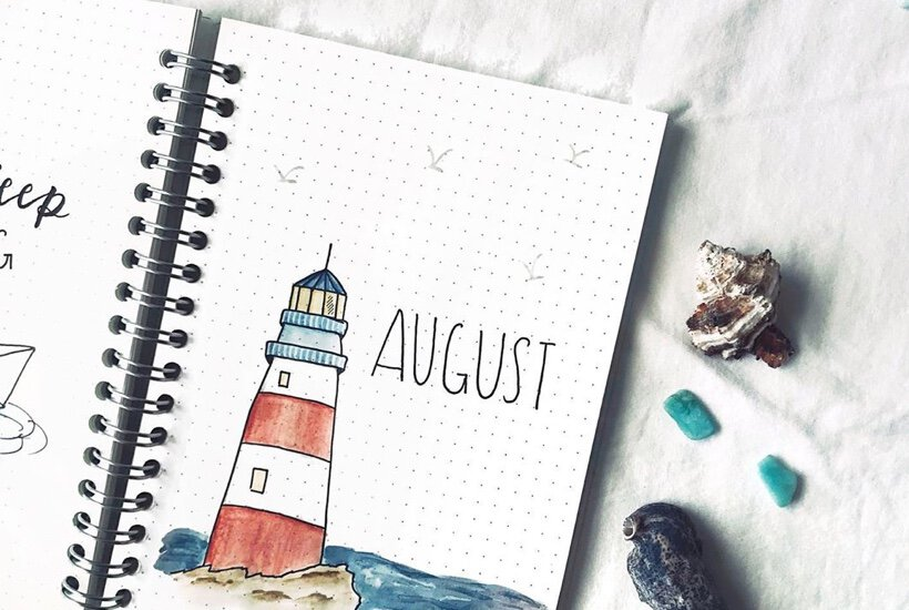easy ideas for august bujo cover