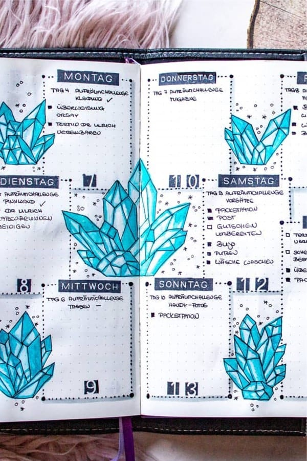 bujo weekly layout with blue crystal theme