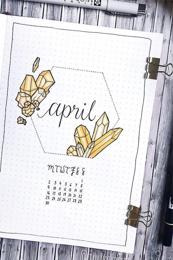 bullet journal bujo spread with yellow crystals