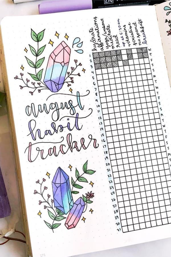 bujo habit tracker with crystals