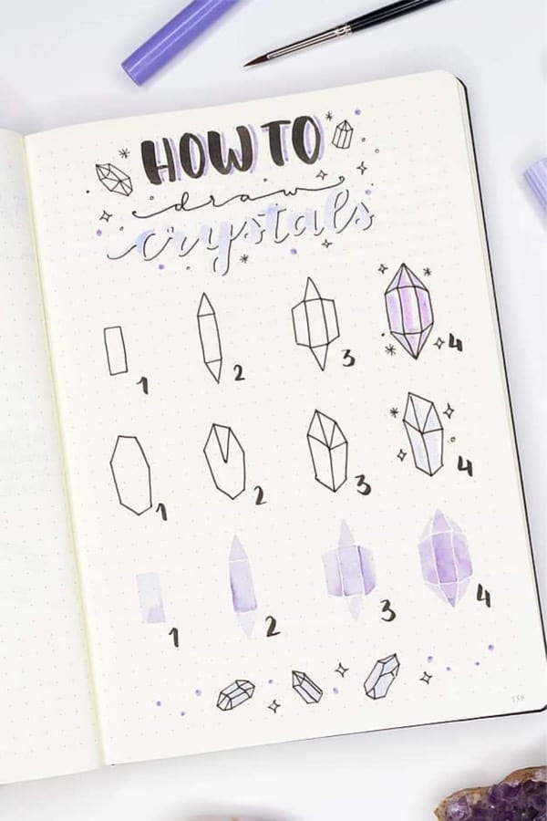 bullet journal crystal theme ideas