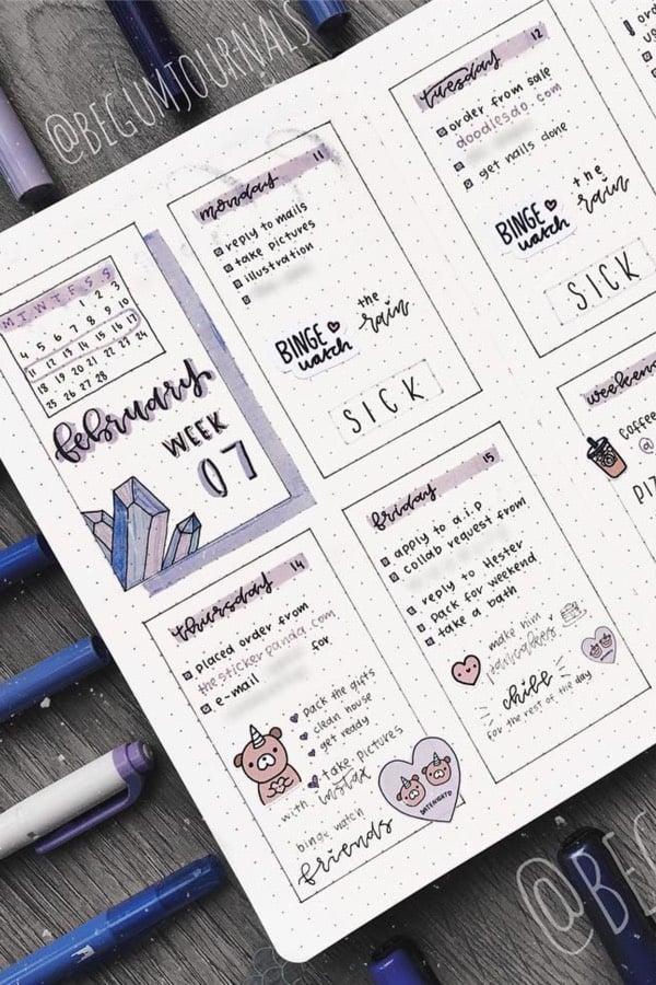 purple gem theme for bullet journal