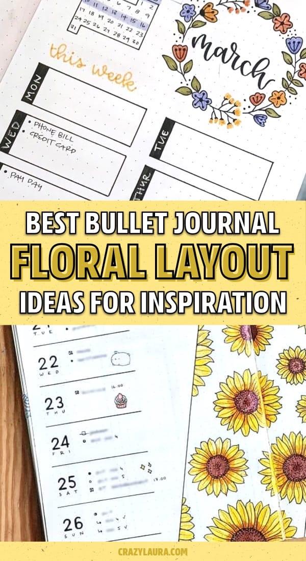 bullet journal floral layout inspiration