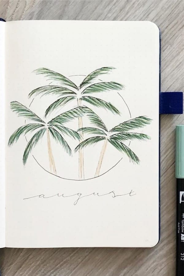 palm tree bujo cover page
