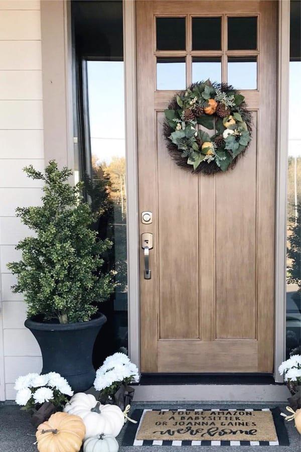 front porch ideas with white pumpkins