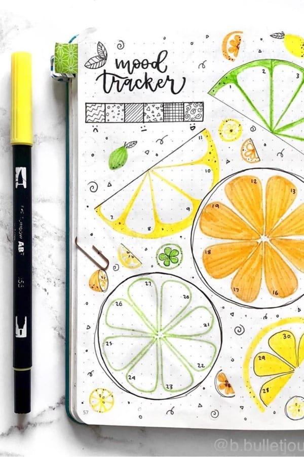yellow august mood tracker ideas