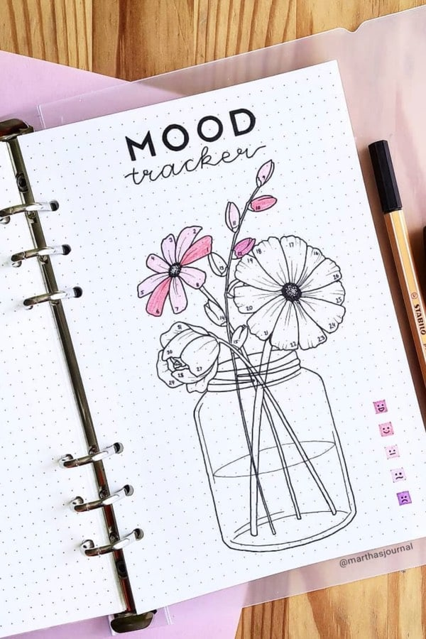 pink theme mood tracker for august