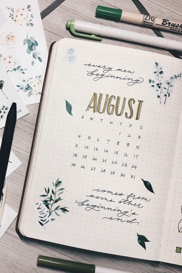 bullet journal monthly covers for august