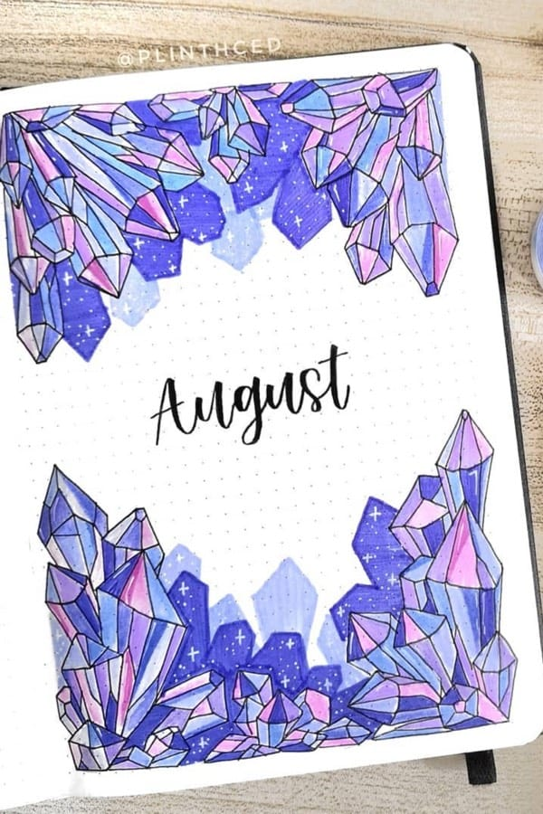 cute bullet journal cover page for august