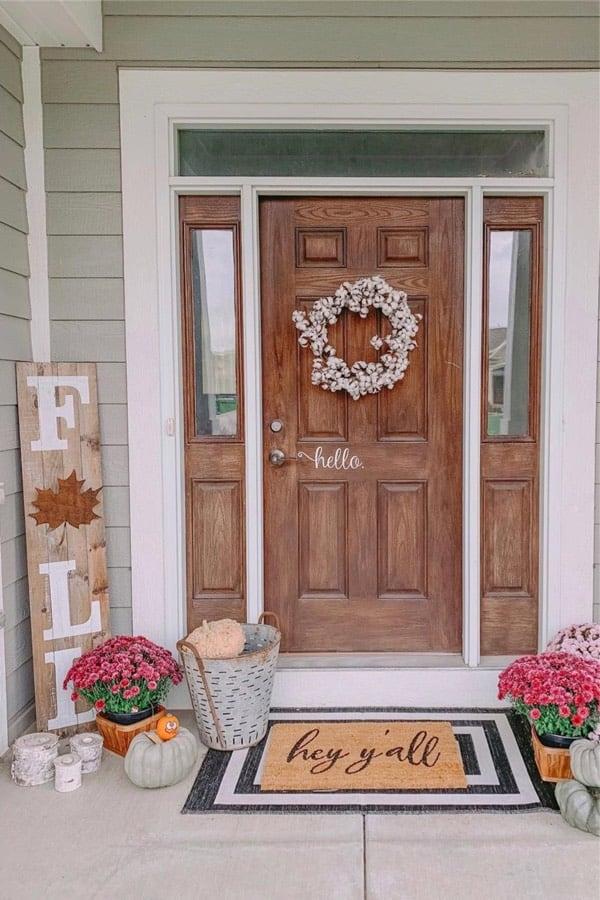 cute porch ideas with pumpkins