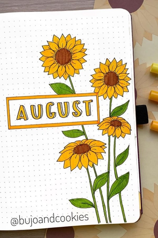 flower monthly cover spread for august