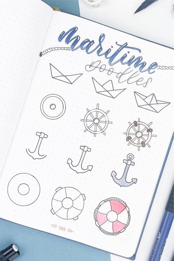 sea doodles for bullet journal