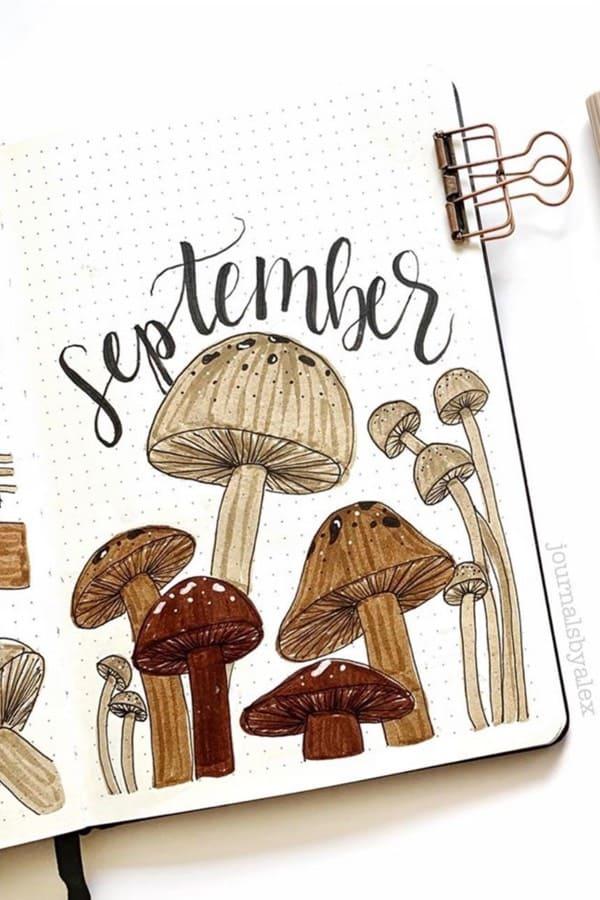 mushroom bujo cover spread ideas