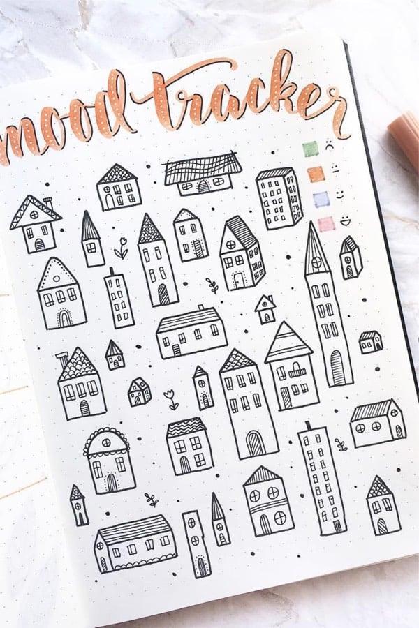 fall theme bullet journal mood tracker ideas