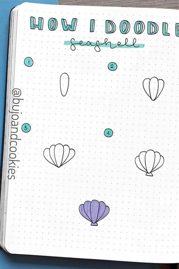 bullet journal sea doodle tutorial