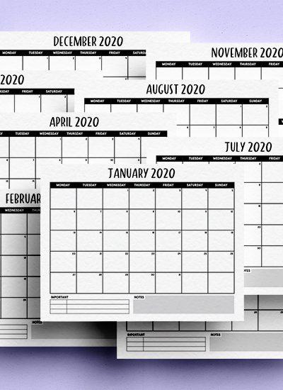 minimal free calendar for 2020