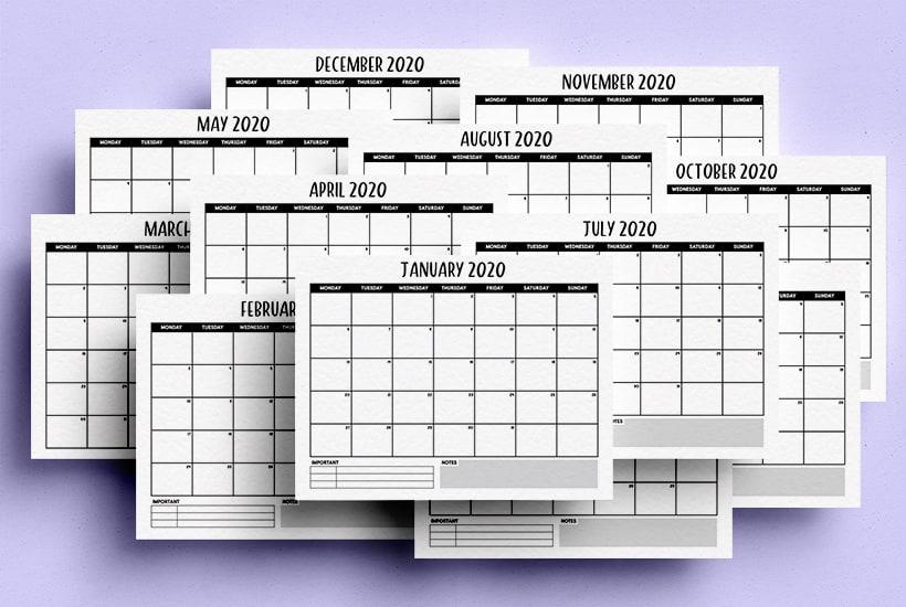 Free Printable Blank Calendar For 2020