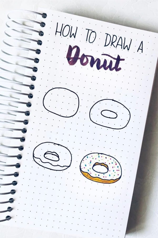 step by step donut doodle example
