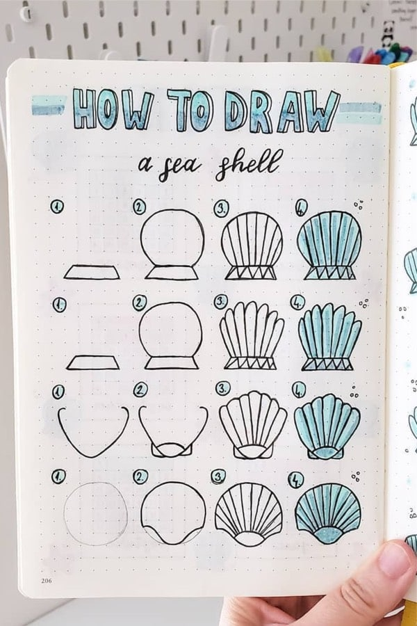step by step sea shell guide for bujo