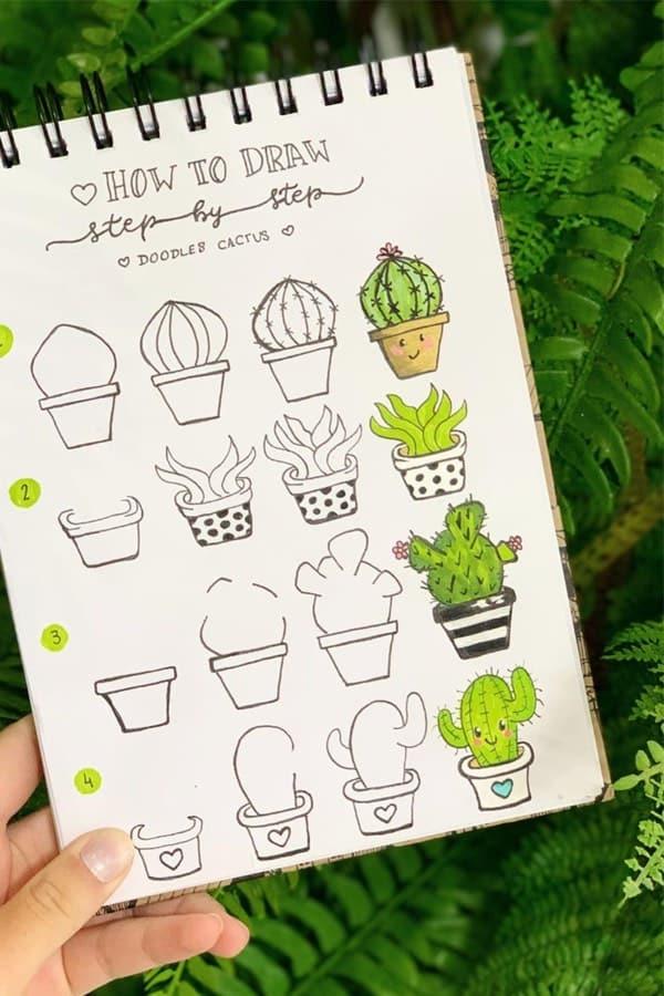 cute smiley face cactus doodle ideas