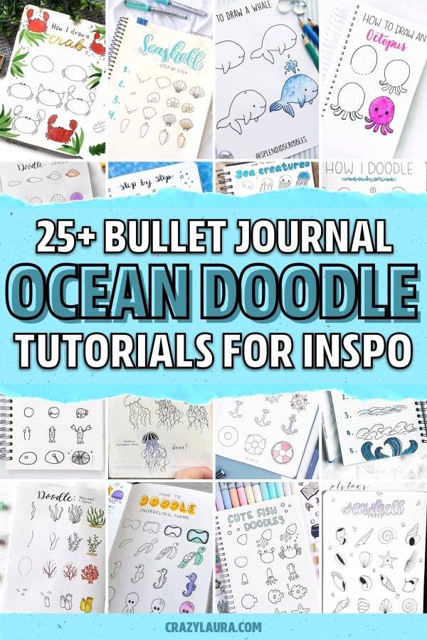 ocean doodle tutorials for dot journal